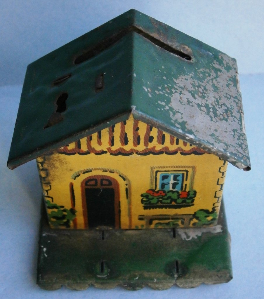 German tin house bank from early 1900's