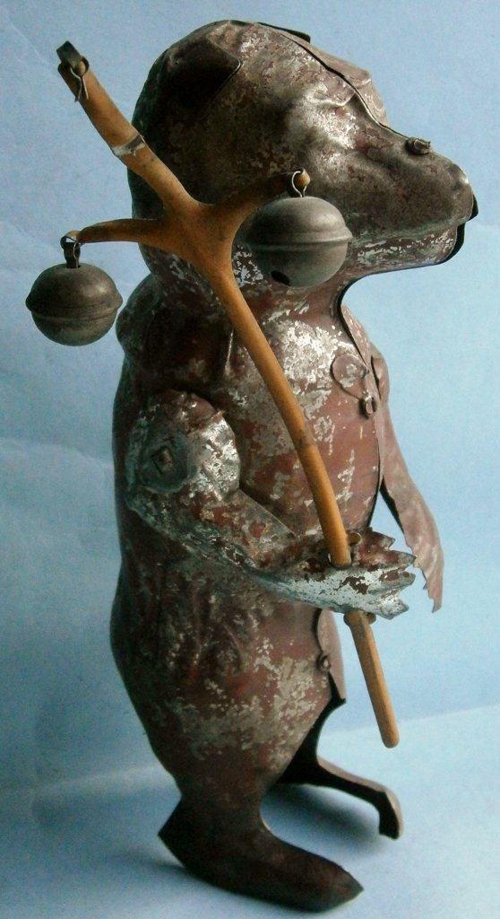 Turn of Century hand painted tin wind-up bear