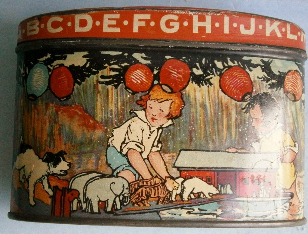 ABC lithographed tin still bank