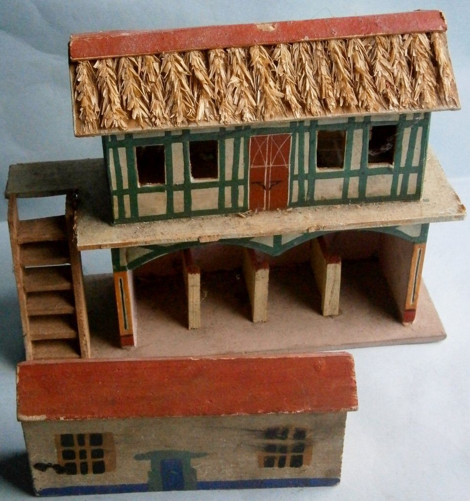 German hand painted wood toy stable