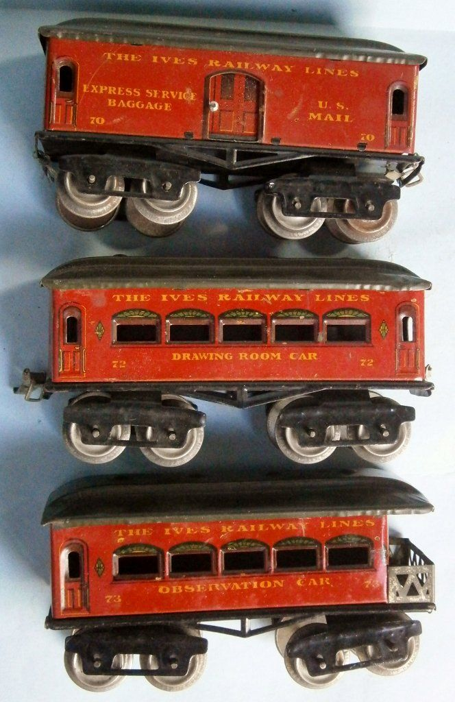 3 Ives Model Railway Train Cars from the 1920's