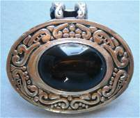 Mexican Sterling Silver Signed Brooch Pin with Black