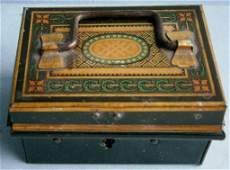 Miniature antique decorated tin money box