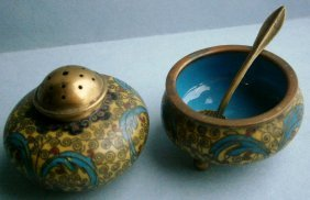 Cloisonn Open Salt And Pepper Shaker With Salt Spoon