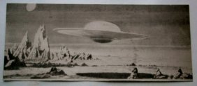 Scifi Engraving Plate With Image Of Flying Saucer