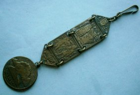 Pocket Watch Chain And Fob With Egyptian Motif