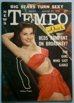 August 1955 Tempo Magazine With Debra Paget Cover