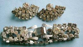 Rhinestone Bracelet And Earrings, Vintage