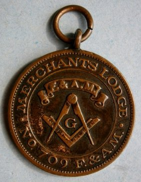 Merchants Lodge No. 709 F.&a.m Masonic Medal / Fob F
