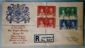 1937 Registered Mail Ceylon King George Vi Cachet