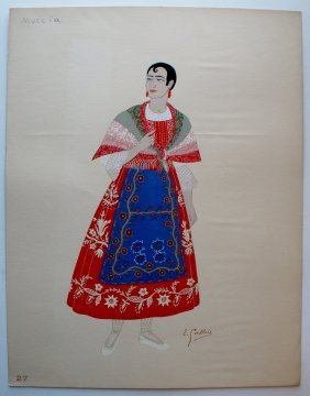 Spanish Woman's Costume From Murcia By Emile Gallois