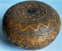 Intricately Carved South American Gourd signed Gloria