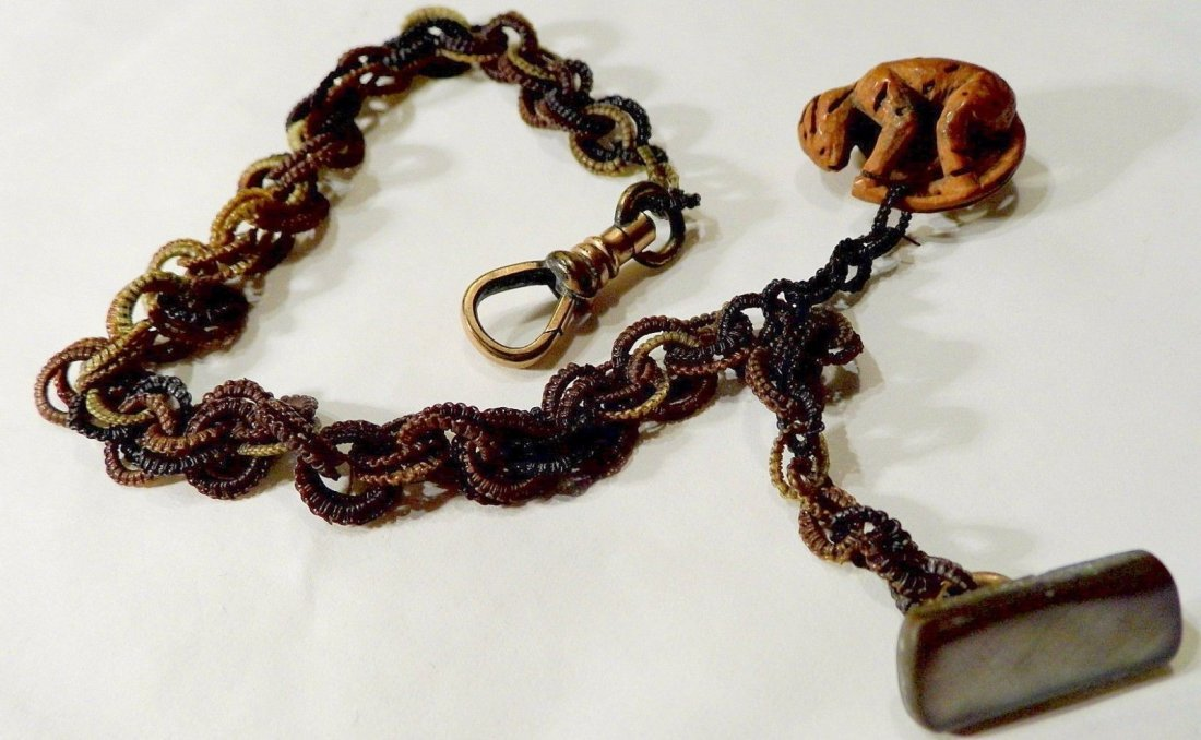 Victorian Fob Woven Horse Hair Carved Nut Monkey