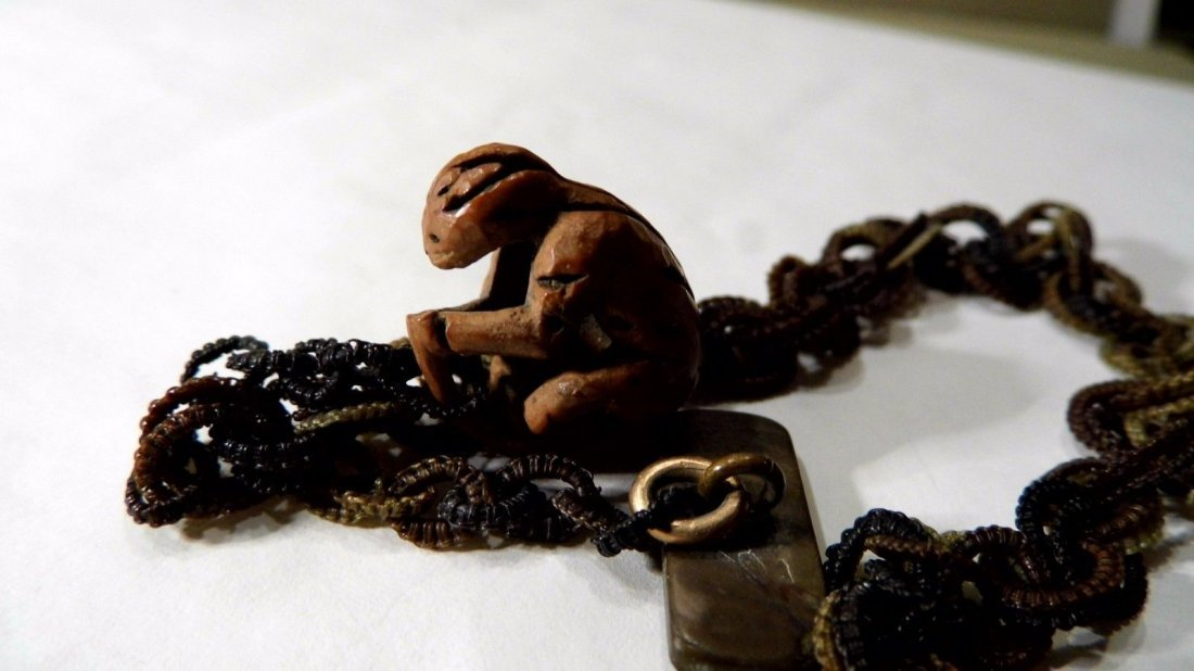 Victorian Fob Woven Horse Hair Carved Nut Monkey - 3
