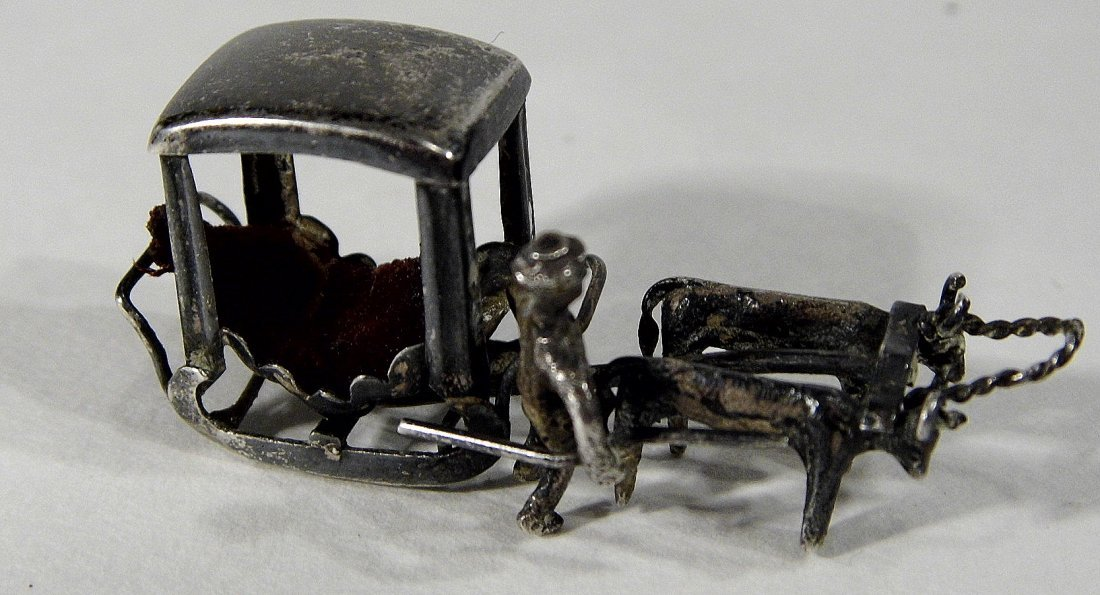 Miniature Chinese Pendant Charm Sleigh Carriage Hearse