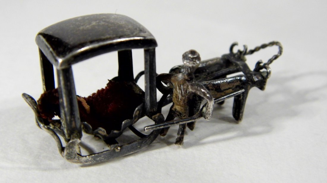 Miniature Chinese Pendant Charm Sleigh Carriage Hearse - 2