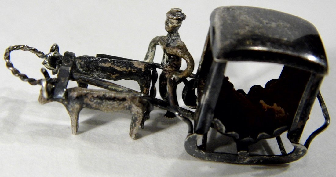 Miniature Chinese Pendant Charm Sleigh Carriage Hearse - 3