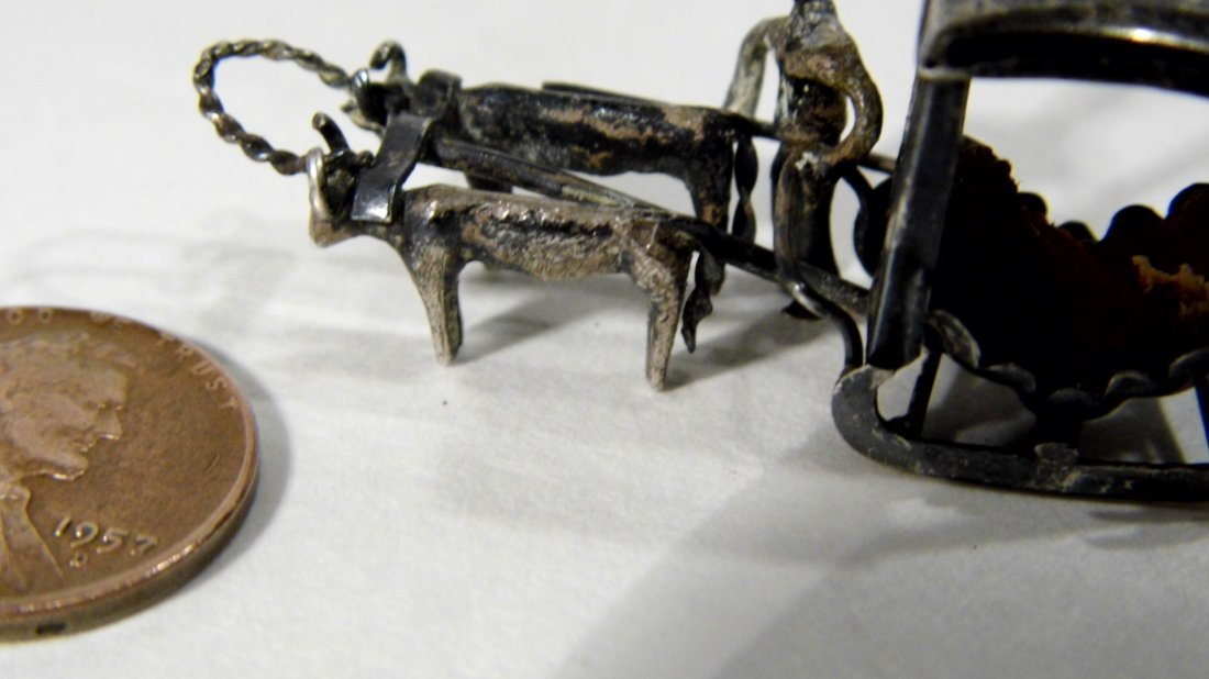 Miniature Chinese Pendant Charm Sleigh Carriage Hearse - 5