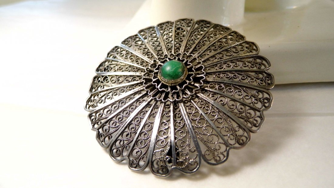 Silver Filigree & Turquoise Disc Wheel Brooch Israel
