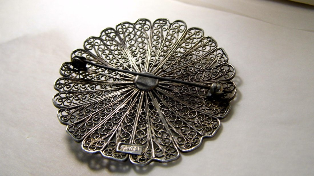 Silver Filigree & Turquoise Disc Wheel Brooch Israel - 3