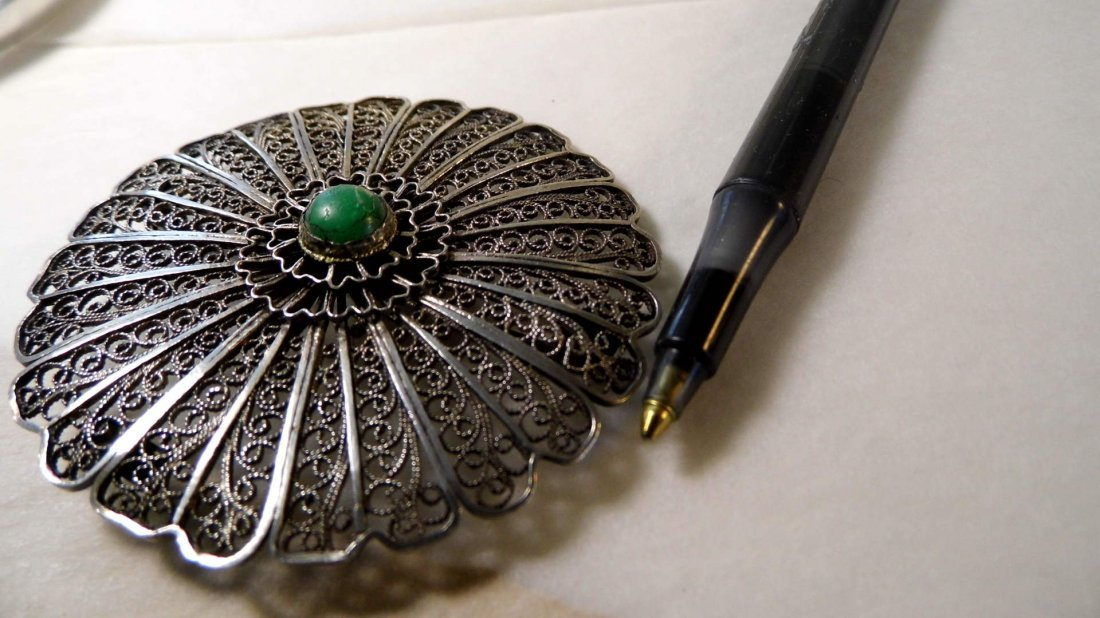 Silver Filigree & Turquoise Disc Wheel Brooch Israel - 5