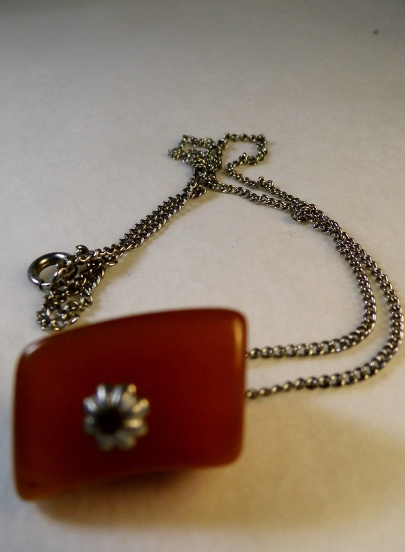 Vintage Amber Pendant Necklace - 2
