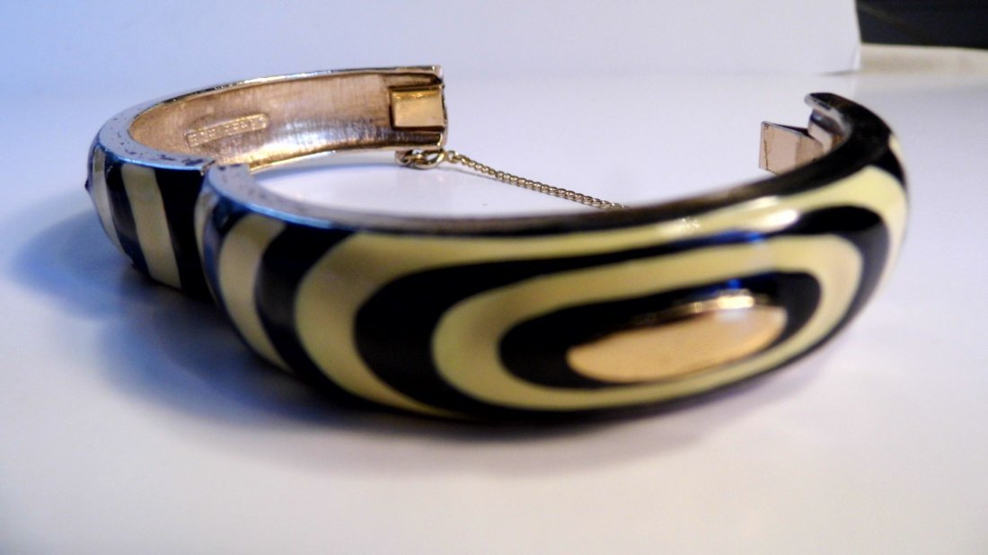 Vintage Signed Enamel Eisenberg Cuff Bracelet
