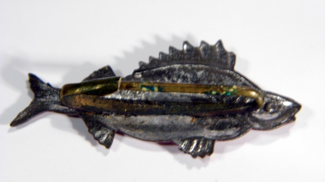 Antique Enamel Fish Pin Perch - 3
