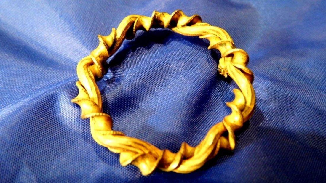 Antique Victorian Lemon Gilt Bronze Ribbon Brooch