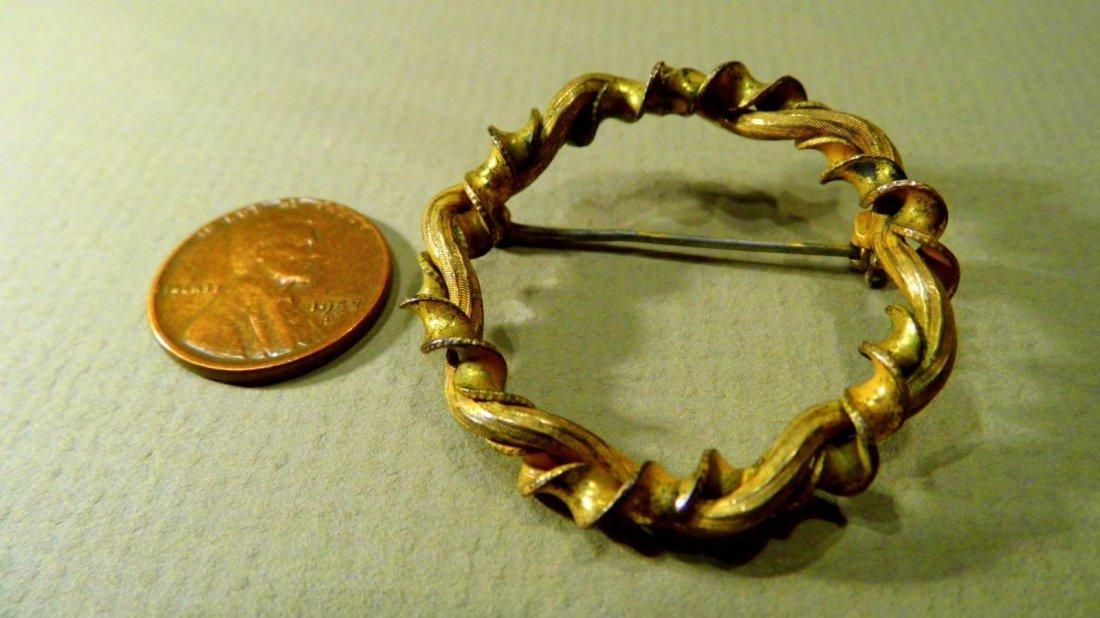 Antique Victorian Lemon Gilt Bronze Ribbon Brooch - 4