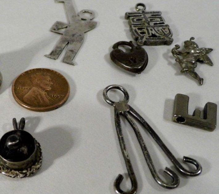 10 Vintage Bracelet Charms/ Necklace Pendants Sterling - 2