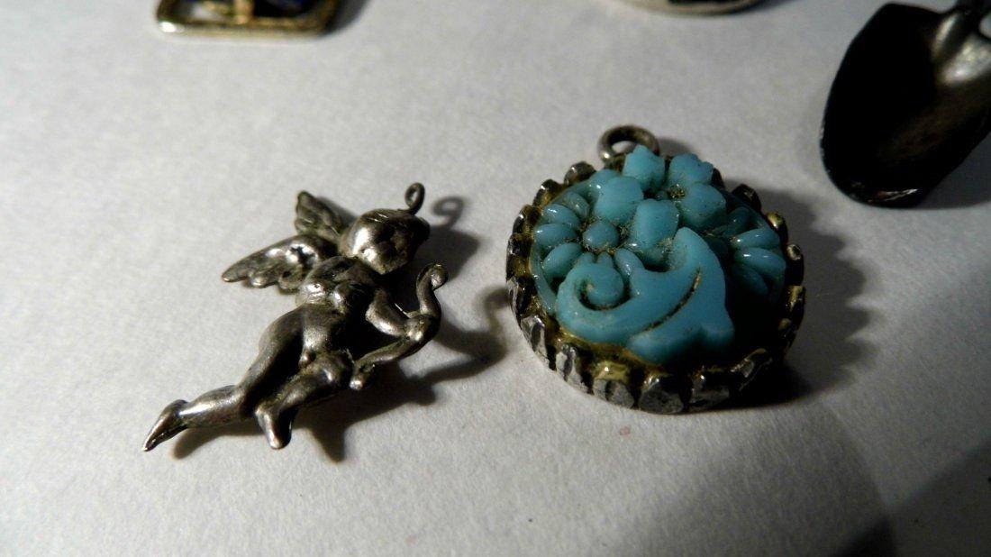 10 Vintage Bracelet Charms/ Necklace Pendants Sterling - 3