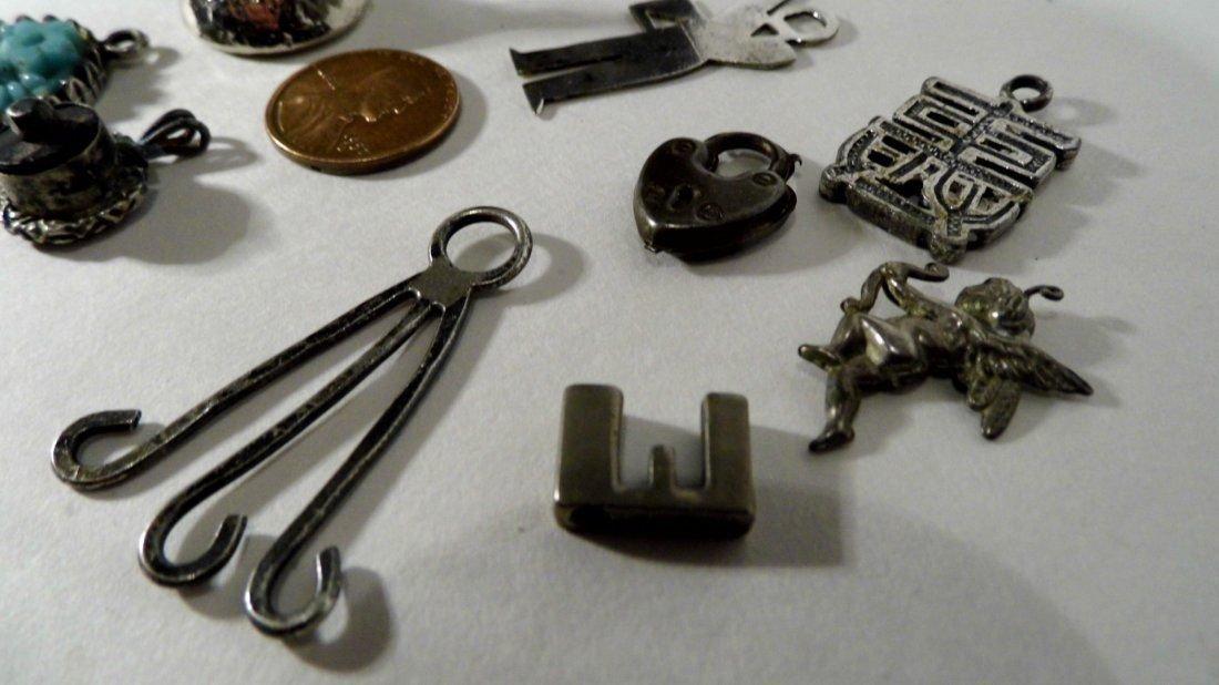 10 Vintage Bracelet Charms/ Necklace Pendants Sterling - 5