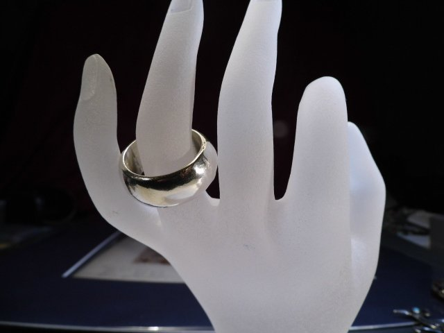 Heavy Masculine Sterling Silver Ring Band 10 3/4