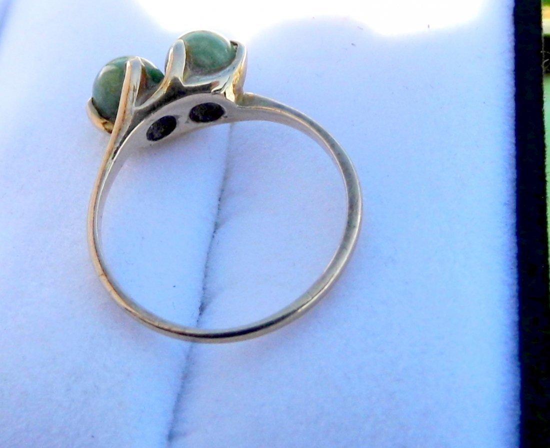 Vintage 10 Karat Gold Spinach Jade Ring sz 8 1/4 - 2