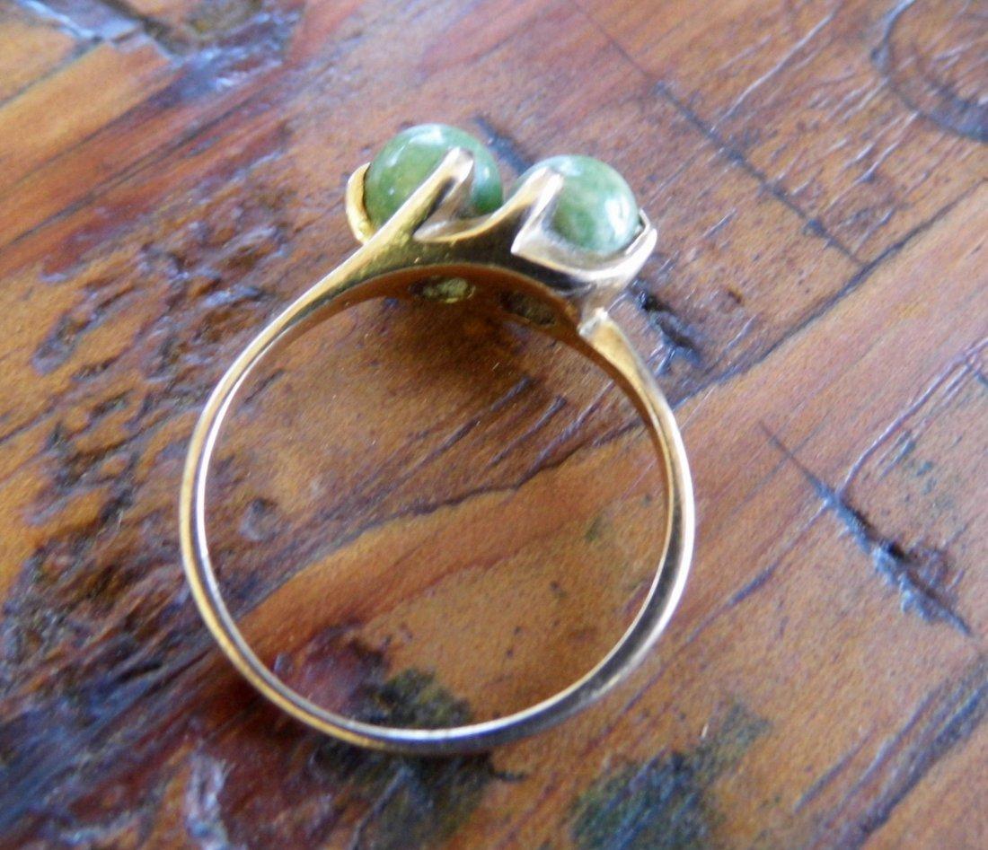 Vintage 10 Karat Gold Spinach Jade Ring sz 8 1/4 - 3