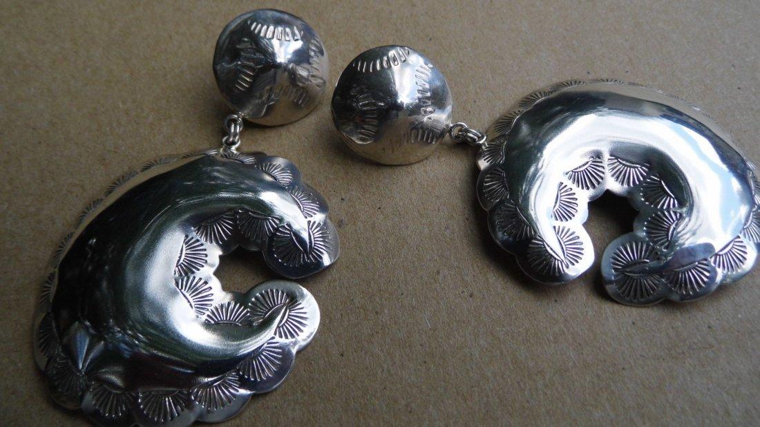 Signed Sterling Silver Southwestern Bear Drop Earrings
