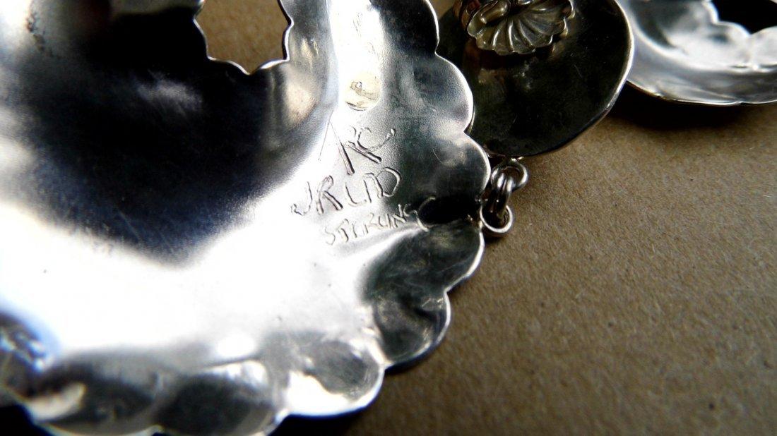 Signed Sterling Silver Southwestern Bear Drop Earrings - 4