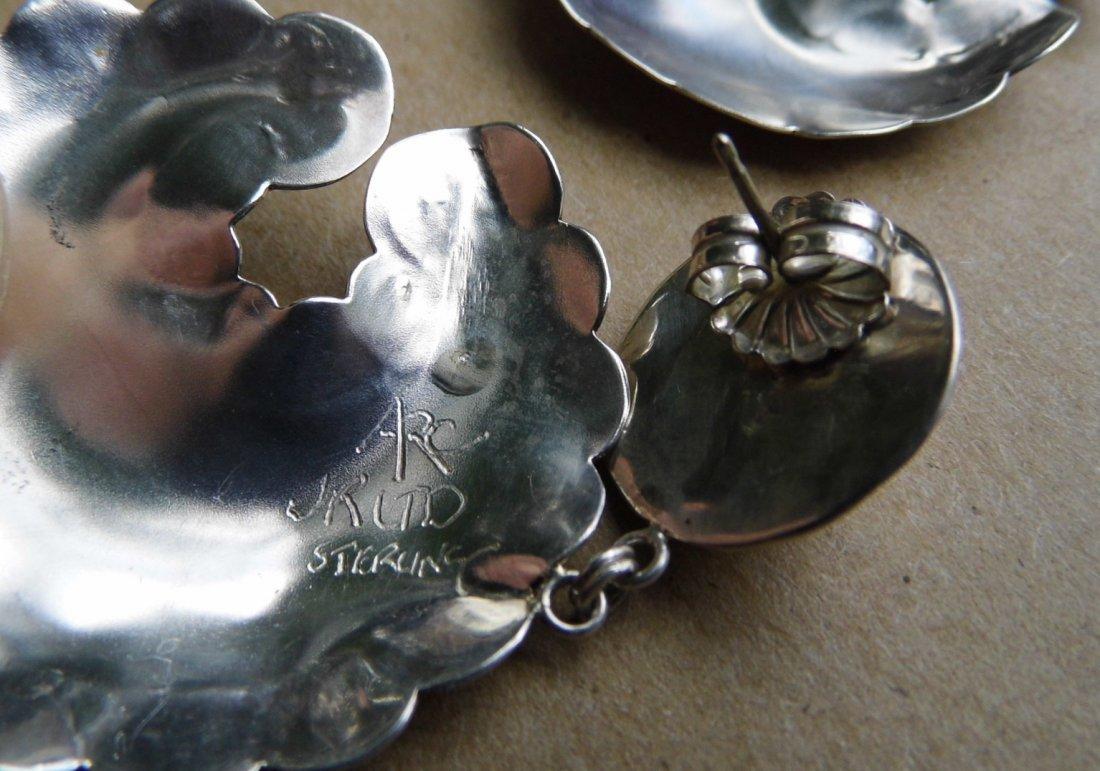 Signed Sterling Silver Southwestern Bear Drop Earrings - 5