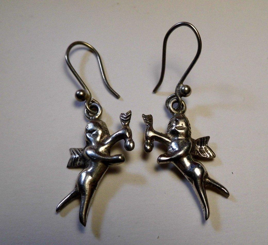 Sterling Silver Cupid Dangle Earrings