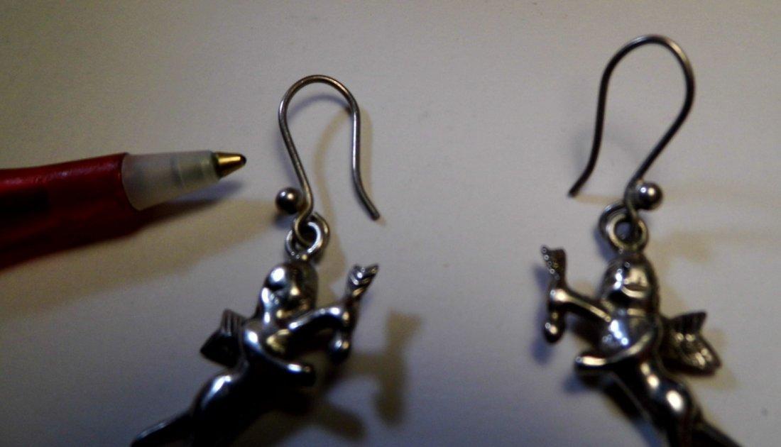 Sterling Silver Cupid Dangle Earrings - 2