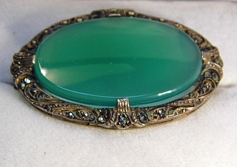 Antique German Brooch/Pin Marcasite Green Obsidian
