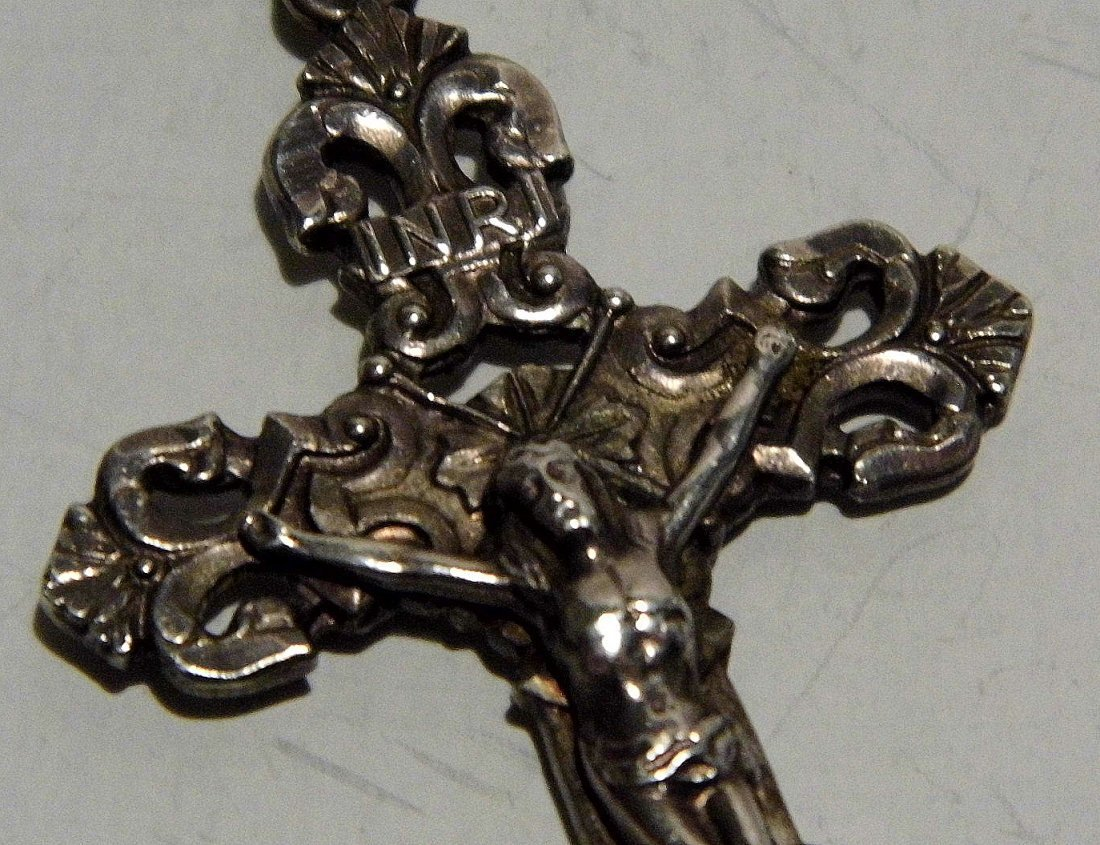 INRI Sterling Silver Vintage Crucifix Necklace Pendant