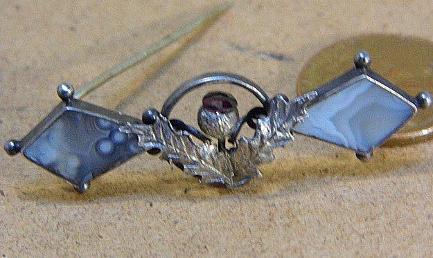 Petite Antique Scottish Thistle Pin Birmingham 1908 - 7