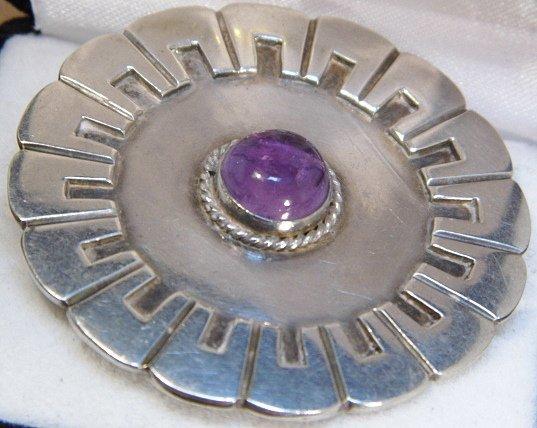 980 Taxco Sterling Silver Disc Brooch La Cucuracha
