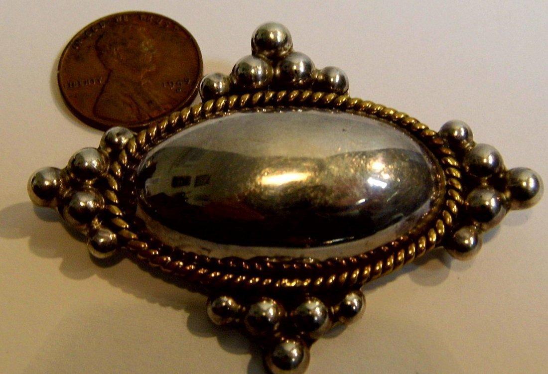 Laton Taxco Heavy Sterling Silver Brooch Pendant - 2