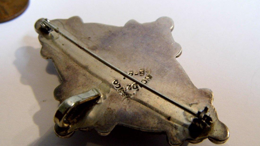 Laton Taxco Heavy Sterling Silver Brooch Pendant - 3