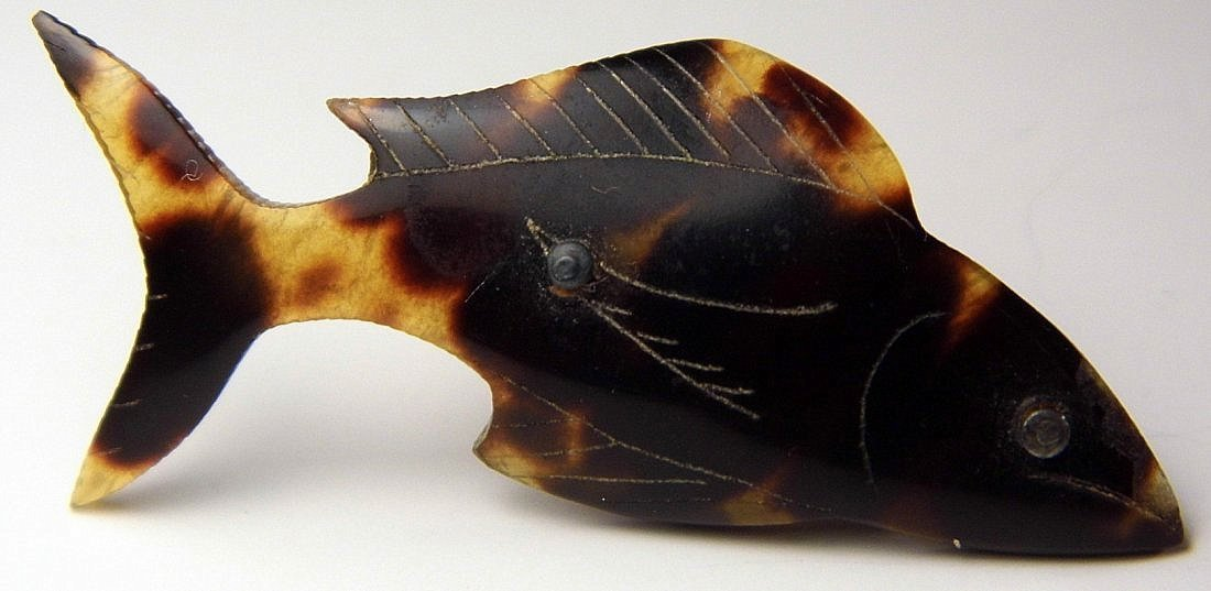 Antique Tortoise Shell Fish Pin Collector Piece