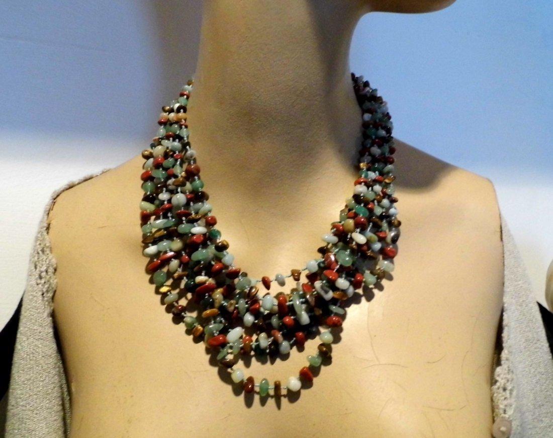 Beautiful Multi Stone Strand Bunch Necklace