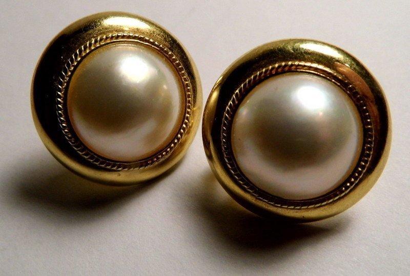 Victorian 9 Karat Gold & Mabe White Pearl Post/Clip
